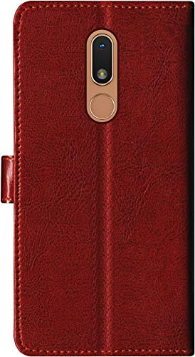 SBMS Leather Wallet Case Flip Cover for Nokia C3 (Brown)