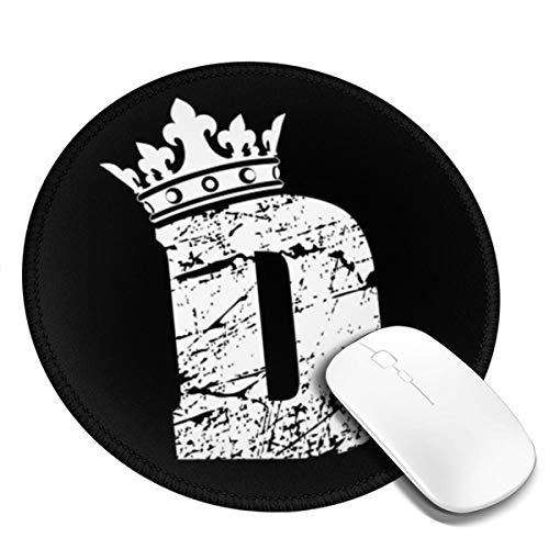 Rotondo Tappetino Mouse Gaming Lettera D King Queen Crown, Gomma Antiscivolo per Computer, PC e Laptop Mouse Pad