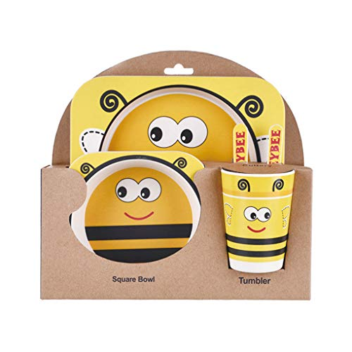 Kinderservies set 5-delige baby bamboevezel cartoon kom set, kinderservies set, kind dier servies set peuter beker lepel vork