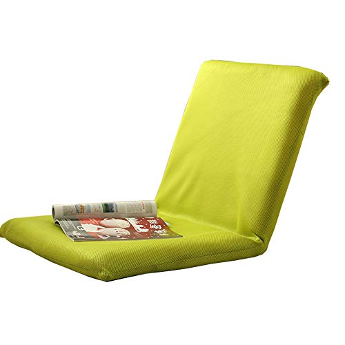 LJFYXZ Chaise de Sol Seul Petit canapé Réglage à 5 Vitesses Loisir Pliable Chaise d'ordinateur Salon Chambre Coussin (Couleur : Green)