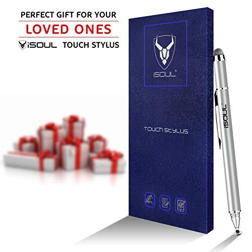 ISOUL Fine Tip Stylus Pen, Universal Capacitive Precise Disc Styli 2-in-1-Touchscreenstifte mit 2-teiligen Ersatzspitzen für Smartphones, iPhone, iPad Mini, Pro, Galaxy, Note, Tablet-Stylus (Silber)