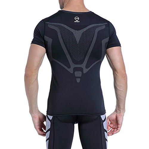 AMZSPORT Herren Kompressions-Shirt Kurzarm Funktionsshirts Baselayer Kurzarm,Schwarz,S - 5