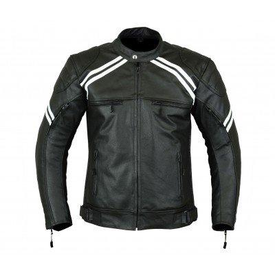 LeatherTeknik Giacca corazzata, sportiva per motocicletta, Altamente protettiva, in pelle S [Petto 38 \ / 97 cm] Bianco