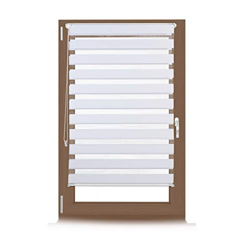 Relaxdays Estor Doble de Sujeción Fija sin Perforaciones, Blanco, 6.5x85x156 cm