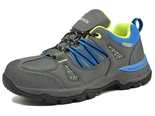 Zapatillas de Trekking para Mujer, Zapatillas de Senderismo Impermeable Zapatos de Montaña Escalada para Caminar Suela Antideslizante AL Aire Libre Zapatillas de Trail Running (Gris Azul/Rojo/Verde)