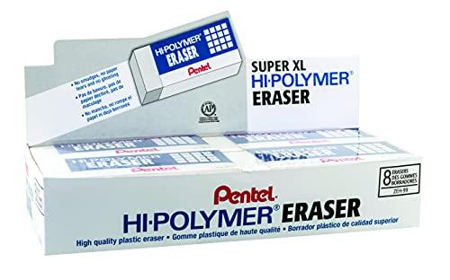 Pentel Hi-Polymer Block Eraser, Super XL White, 8-pack (ZEH-99)