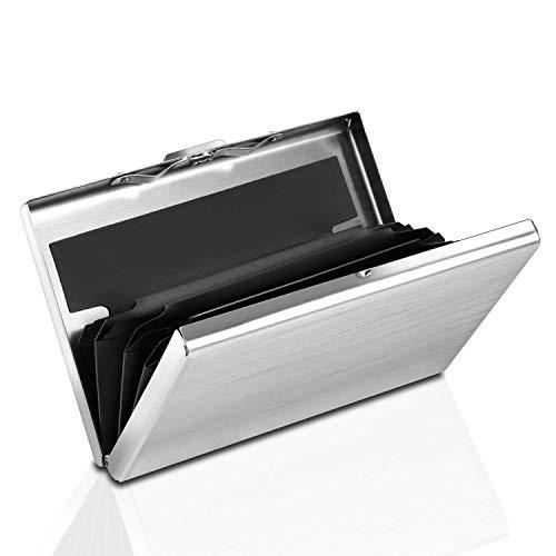 GeekerChip Kreditkarten Etuis,aus gebürstetem Edelstahl, 6 Fächer für bis zu 8 Karten, RFID NFC Schutz Kreditkartenetui(Silber)