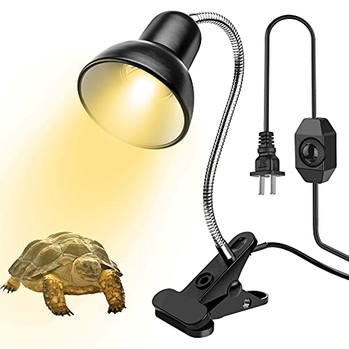 파충류 열 램프 애완 동물 서식지 열 램프 파충류 램프 UVA UVB BASKING 스폿 열 램프 360 ° 회전식 클립 및 3 전구 (1 개 25W + 2 개 50W)