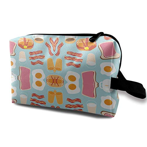 Breakfast Fun Wallpaper Portable Travel Makeup Cosmetic Bags Organizer Multifunction Case Toiletry Bags