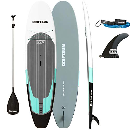 Driftsun Durashell Rigid Stand Up Paddleboard 10.5ft SUP, with Paddle, Fin, and Leash