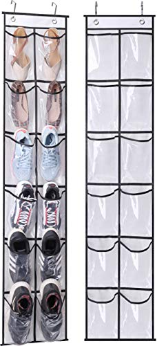 MISSLO Over The Narrow Door Shoe Organizer with 12 Crystal Pockets Hanging Closet Door (2 Packs, White)