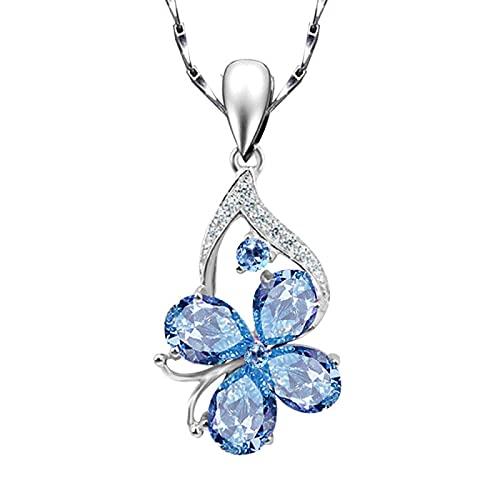 Piedras preciosas de aguamarina diamantes collares pendientes para mujer cristal azul gargantilla de oro blanco joyería de color plata