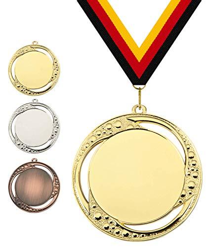 Pokalmatador GmbH Ø 70 mm Medaille Portugal inkl. Medaillenband und Aluminiumemblem mit Sportart und Beschriftung (Gold, inkl. Beschriftung)