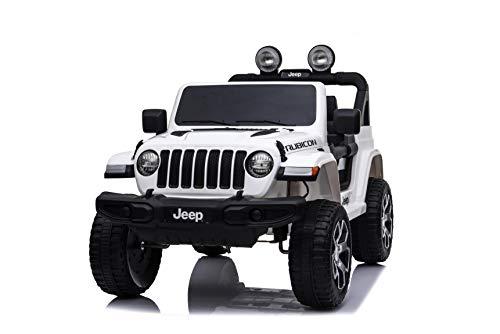 Babycar Jeep  Wrangler Rubicon 2 Posti 12 Volt con Sedile in Pelle Macchina Elettrica Jeep per Bambini Porte apribili con Telecomando 2.4 GHz Soft Start Full Optional (Nera) (Bianco)