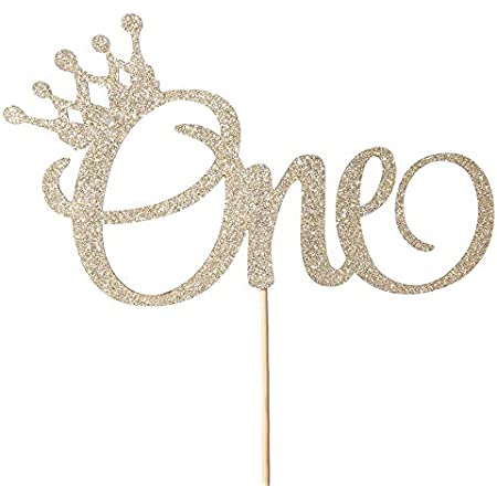 Glitter Sweet One Cake Topper for Photo Booth Props 1st Birthday Gold Cake Topper Single-Sided First Anniversary Party Shower Cake Smash Decorating