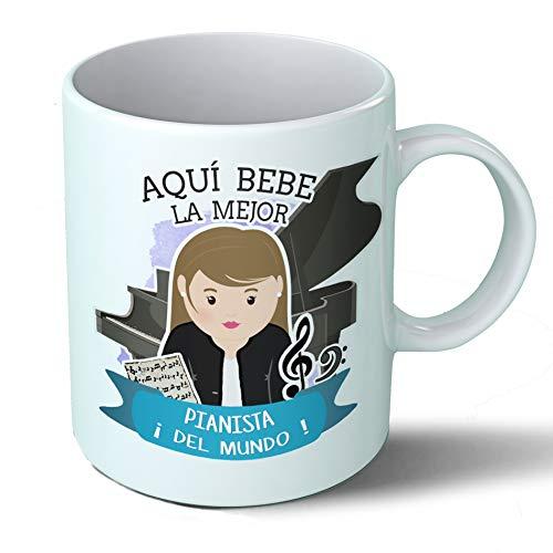 Planetacase Taza Desayuno Aquí Bebe la Mejor Pianista del Mundo Regalo Original Musica musicos Piano Ceramica 330 mL