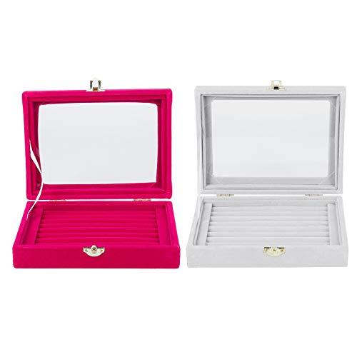 Basage 2 cajas de almacenamiento de terciopelo para anillos, pendientes, joyas, organizador de joyas, caja de almacenamiento, color rojo rosa y gris