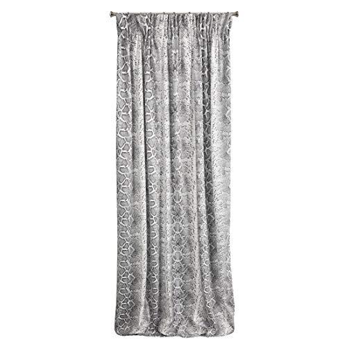 Eurofirany Gordijn, glad slangenpatroon, slangenschuur, trend, plooiband, 140 x 270 cm, zirkoniasteentje, elegant hoogwaardig, glamour, slaapkamer, woonkamer, wit + zwart, 140 x 270 cm