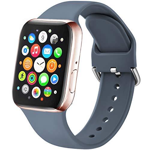 Amzpas Cinturino Compatibile per Apple Watch 38mm 40mm 42mm 44mm, Nuovo Cinturino in Silicone di Sportivo Morbido per iWatch Series 6,5,4,3,2,1,SE (38 40mm S M, 02Grigio blu)