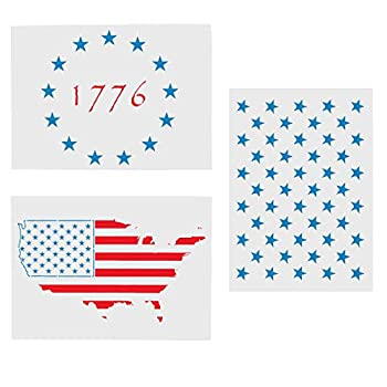 Star Stencil American Star Stencil Templates-50 Star Stencil / 1776 Star Stencil/USA Map Star Stencil Reusable Plastic Stencils for Painting on Paper Fabric Wood Wall Art Large