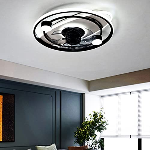 JAKROO Moderna Simplicidad Lámpara del Ventilador, Ventilador De Techo Silencioso De 50 W con Iluminación, Lámparas De Ventilador De Techo Interiores Cambiables De 3 Colores