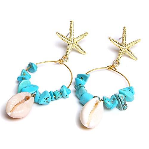 Boho shell piedra chips colgantes pendientes para mujeres oro estrellas de mar encanto pendientes Femme joyería de moda