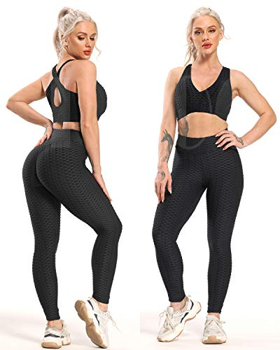 FITTOO Women's High Waisted Yoga Pants Tummy Control Scrunched Booty Leggings Workout Running Butt Lift Textured Tights Peach Butt Black XS