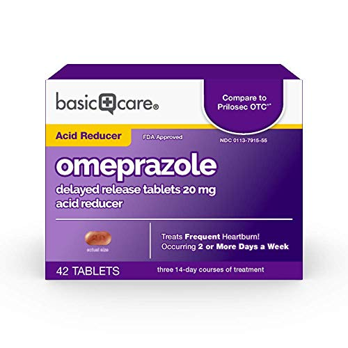 Amazon Basic Care Omeprazole Delayed Release Tablets 20 mg, Acid Reducer, treats frequent heartburn,, Cream, Regular, 42 Count (Pack of 1), 42 Count,