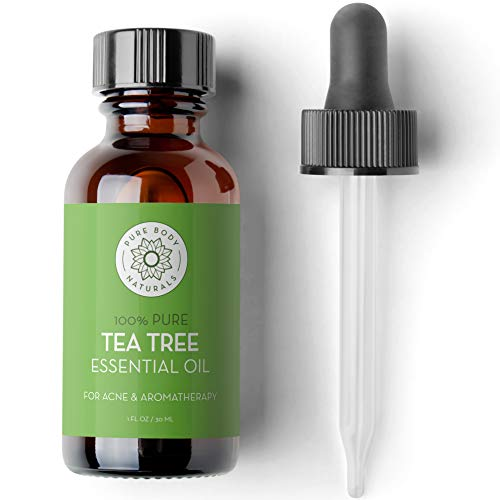 Tea Tree (Melaleuca) Essential Oil, 1 Fl Oz with dropper - Therapeutic Grade for Your Face, Skin, Hair and Diffuser - Natural Treatment for Acne, Toenails, Skin Tag Removal - by Pure Body Naturals
