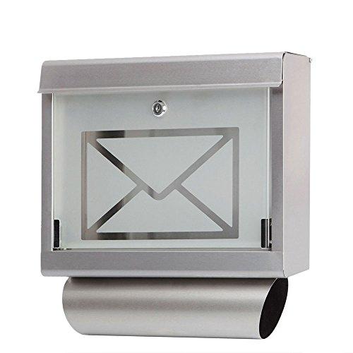 V2Aox Edelstahl Briefkasten Postkasten Zeitungsfach Wandbriefkasten Zeitungsrolle Glastür