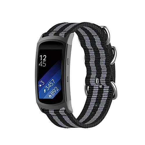 INF Pulsera de Reloj Compatible con Samsung Gear Fit 2 / Pro/Pulsera Ajustable y Flexible (139 mm - 180 mm), Negro/Gris