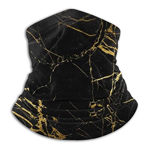 Calentador de Cuello de Microfibra Unisex Textura de Mármol de Oro Negro Pasamontañas Sombreros Bufanda para Polvo Protección Solar Contra el Viento