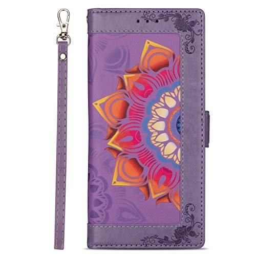 Miagon PU Leder Flip Hülle für Samsung Galaxy A20e,Brieftasche Cover Blume Design Full Body Schutz Handyhülle mit Kartenfächer Standfunktion Handschlaufe,Lila