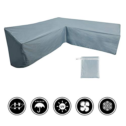 miuline L Shaped Garden Furniture Covers Dustproof Heavy Duty Outdoor Patio Rattan Corner Sofa Cover with Storage Bag for Moving or Sunscreen (270 * 270x90cm, Grey)