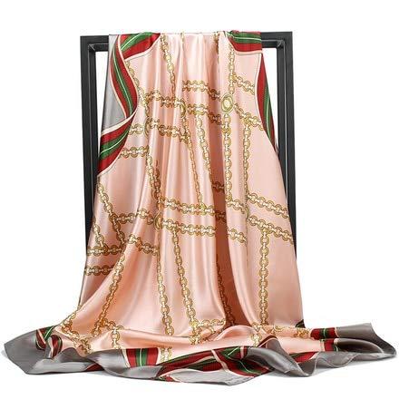 Pañuelo de Seda pañuelo de satén Plisado a la Moda pañuelo de Seda Grande de 90 * 90 cm Cuadrado para el Pelo/pañuelo en la Cabeza para Mujer - c103,90cm X 90cm