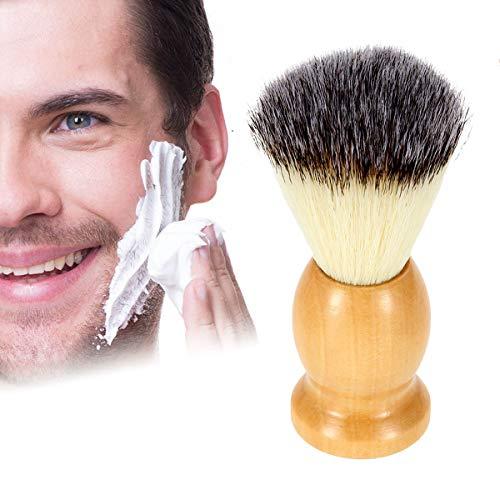 ZONSUSE Pennelli Barba, Pennello da Barba Manuale, Pennello Barba da Uomo Professionale Pelo di Nylon, con Manico in Legno per la Rasatura di Crema, Schiuma o Sapone