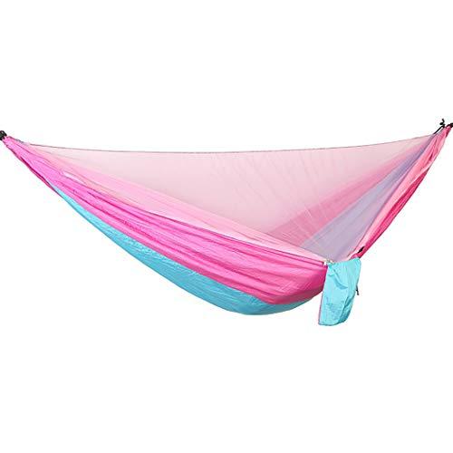 Hangmat met muggennetcamping, ultralicht draagbaar winddicht, 200 kg laden, slaapbank met netto banden voor buiten, wandelen, backpacken, reizen 290 x 140 cm pinkblue