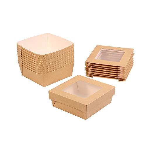 Geschenkschachtel mit Deckel und großem Sichtfenster, lebensmittelecht, braun, ca. 13,5 x 13,5 cm, Snackschachtel Lunchbox Windowbox Geschenkbox, Inhalt: 10 Stück