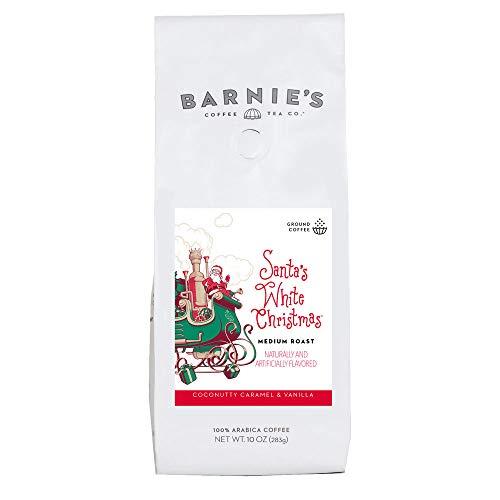 Barnie's Santa's White Christmas Whole Bean Coffee with Smooth Coconut, Caramel and Warm Vanilla Flavors, Medium Roasted Arabica Coffee Beans, 10 oz Bag