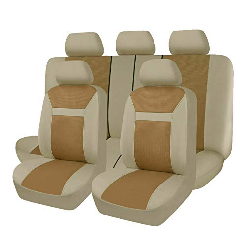 Flying Banner - Juego completo de fundas universales para asientos delanteros y traseros, color beige