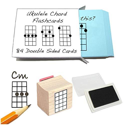 Juego de accesorios para principiantes ukelele (Chord tarjetas didácticas y ukelele Chord Stamp and pad)