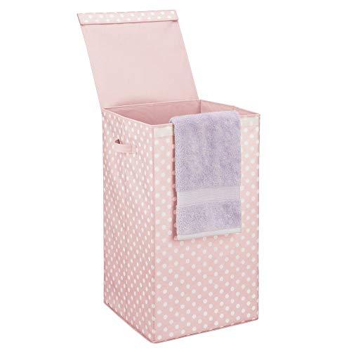 mDesign Cesto de ropa sucia con tapa – Moderno cesto para colada plegable y con asas – Cubos de ropa sucia para baños con estampado de lunares – rosa claro y blanco