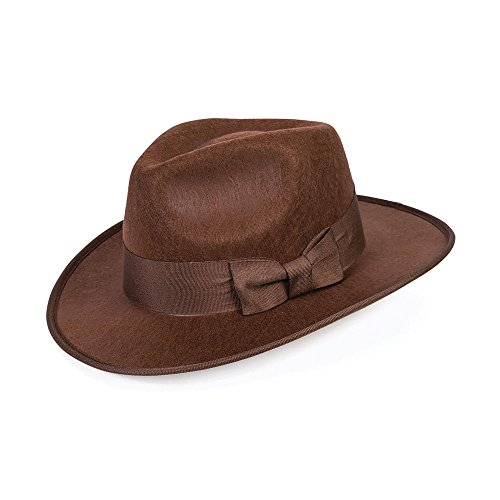 Forum Novelties 40 de color marrón Steampunk Adventurer Fedora sombrero adulto hombres disfraz de gánster