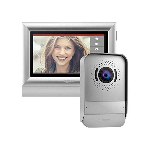 Videoportero TOUCH de Legrand 369320, con interfono exterior de visión nocturna y gran angular, monitor de video interior con pantalla 7' a color, acabado plata