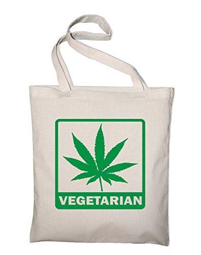 Styletex23 Vegetarian Fun Jutebeutel Baumwolltasche, natur