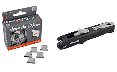 Viwanda - Paper Clipper - Eric Nero - Spara-Mollette per l'ufficio e gli studenti, Clip Dispenser Fast Clam Clip Stapler Fermaglio Cucitrice. Includere pacchetto dotato di 100 mollete taglia 6.4 mm