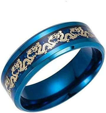 Vintage Chinese Stainless Steel Blue Dragon Ring