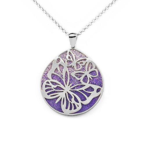 Collar Plata colgante Mariposas fondo diamantado lila