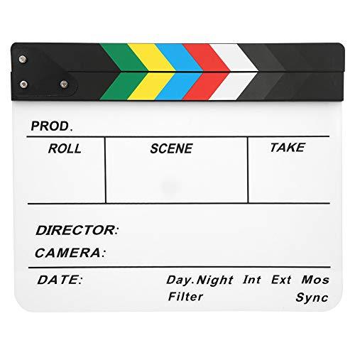 AMONIDA Claqueta Claqueta de Cine con imán Incorporado Fácil de borrar Tiza Sonido nítido para Recuerdos de películas(Color Bar whiteboard (PAV1))