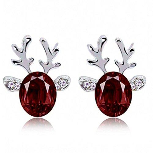 Fenverk 1 Paar Gold Mode Damen Ohrringe Weihnachten Elch Ohrringe Elegant Pearl Ohrringe,Einfach Stilvoll Weihnachten Elchgeweihe mit Weiß Perle Ohrringen Frauen Schmuck Zubehör Ohrhänger(B Lila)